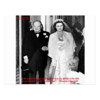 Carte Postale Churchill et citation célèbre de mariage