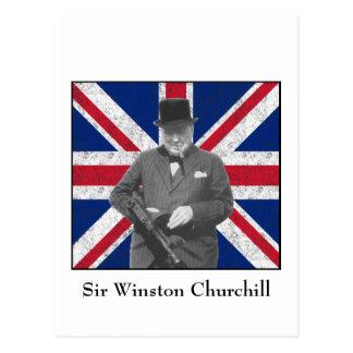 Carte Postale Churchill posant avec le drapeau britannique
