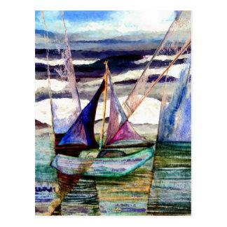 Carte Postale Ciel bleu de ressacs élevés abstraits de voilier
