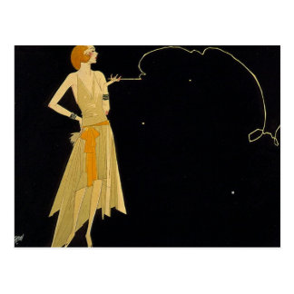 Carte Postale Cigarette de tabagisme de femme d'art déco