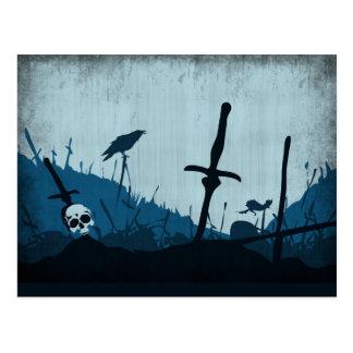 Carte Postale Cimetière avec des crânes et Ravens