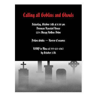 Carte Postale Cimetière déplaisant Halloween gothique de