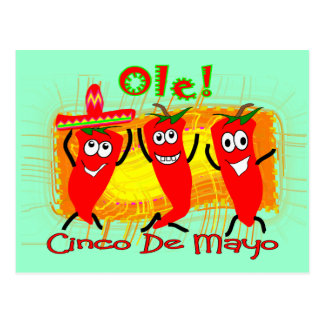 Carte Postale Cinco De Mayo 3 piments de danse Poivre-Adorables