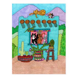 Carte Postale Cinq chats à une Chambre d'Adobe d'Aqua