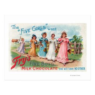 Carte Postale Cinq filles veulent le chocolat du lait des