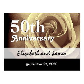 Carte Postale cinquantième L'or élégant d'anniversaire de