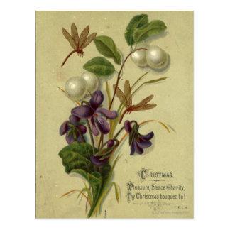 Carte Postale Circa 1881 : Snowberries et violettes