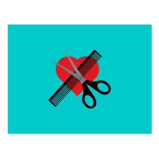 Carte Postale ciseaux et peigne et coeur