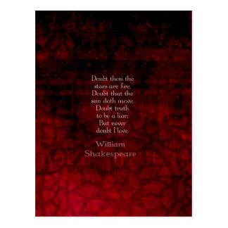 Carte Postale Citation célèbre d'amour de William Shakespeare