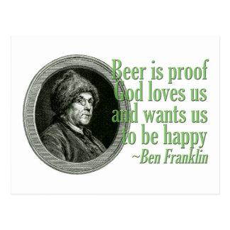 Carte Postale Citation de bière de Franklin