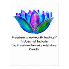 Carte Postale Citation de liberté de Gandhi avec la photo de