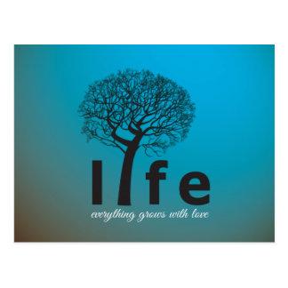 Carte Postale Citation inspirée turquoise d'arbre de la vie