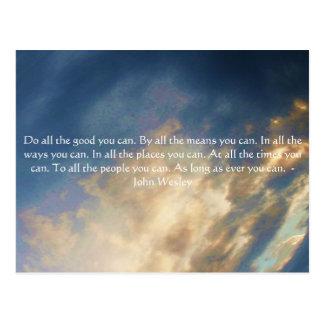 Carte Postale Citation vivante de John Wesley avec des nuages de