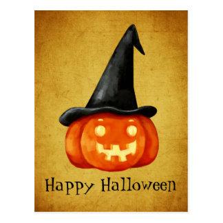 Carte Postale Citrouille heureux de sorcière de Halloween