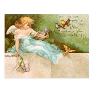 Carte Postale Clapsaddle : Ange jouant avec des oiseaux