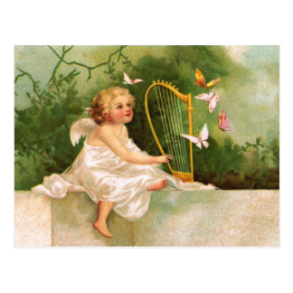 Carte Postale Clapsaddle : Ange jouant l'harpe