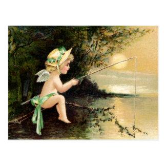 Carte Postale Clapsaddle : Petit ange avec canne à pêche
