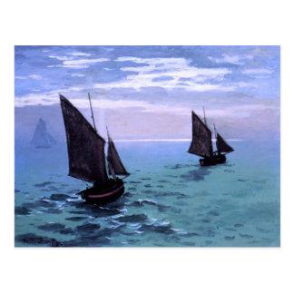 Carte Postale Claude Monet : Bateaux de pêche sur leur chemin
