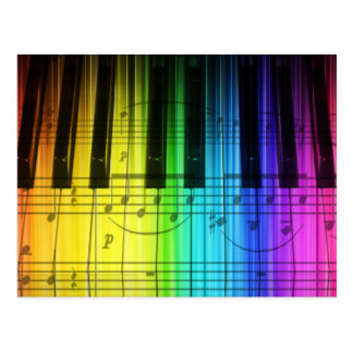 Carte Postale Clavier et notes de piano d'arc-en-ciel