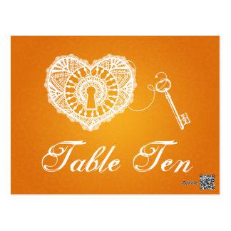Carte Postale Clé élégante de nombre de Tableau à mon orange de