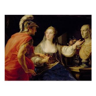 Carte Postale Cléopâtre montrant à Octavius le buste de Jules