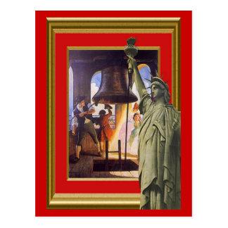 Carte Postale Cloche et statue de liberté