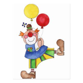 Carte Postale Clown avec des ballons