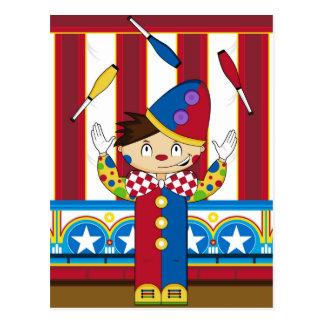 Carte Postale Clown de cirque de jonglerie de Bigtop de bande