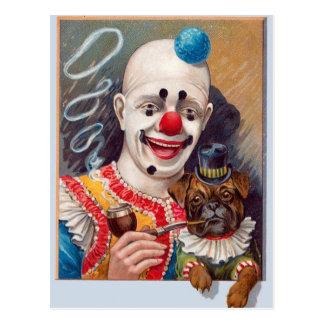 Carte Postale Clown de cirque vintage avec son chien de carlin