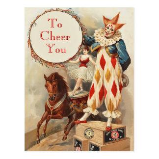 Carte Postale Clown de cirque vintage coloré