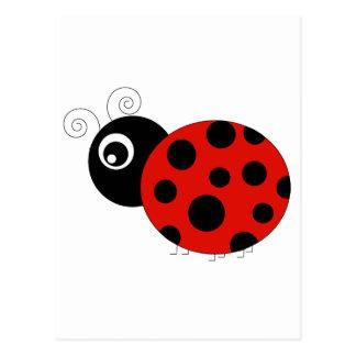 Carte Postale Coccinelle rouge et noire