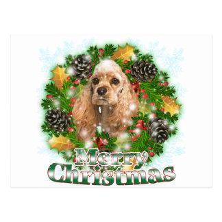 Carte Postale Cocker de Joyeux Noël