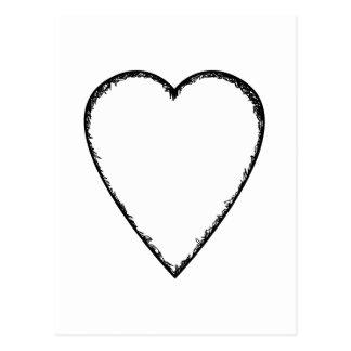 Carte Postale Coeur d'amour avec le bord de griffonnage