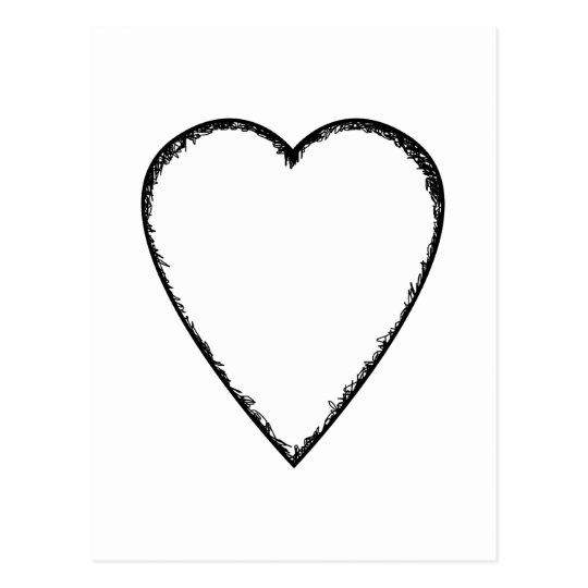 Carte Postale Coeur d'amour avec le bord de griffonnage   Zazzle.fr