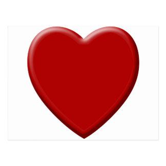 Carte Postale Cœur d'amour rouge