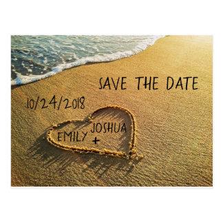 Carte Postale Coeur dans le rivage de plage de sable