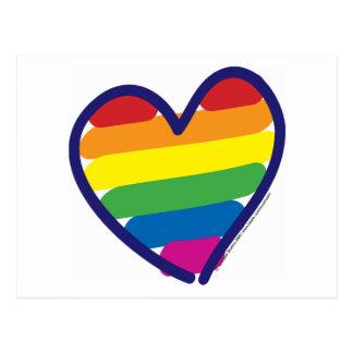 Carte Postale Coeur d'arc-en-ciel de gay pride