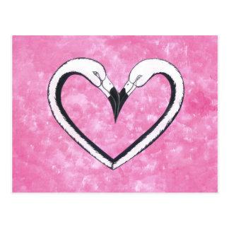 Carte Postale Coeur de baiser de flamant, cadeaux d'amour