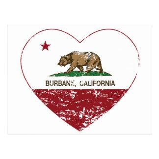 Carte Postale coeur de Burbank de drapeau de la Californie