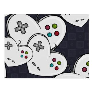 Carte Postale Coeur de contrôleur d'amour de Gamer