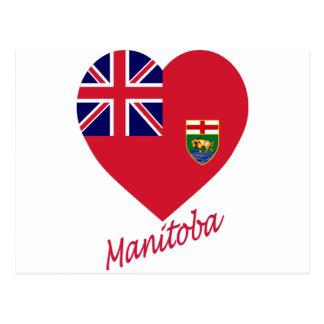 Carte Postale Coeur de drapeau de Manitoba avec le nom