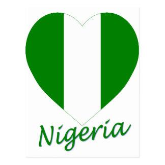 Carte Postale Coeur de drapeau du Nigéria