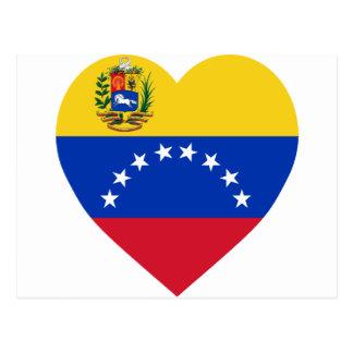 Carte Postale Coeur de drapeau du Venezuela