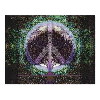 Carte Postale Coeur de mandala d'arbre de paix