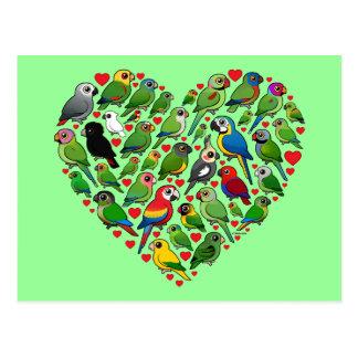Carte Postale Coeur de perroquet