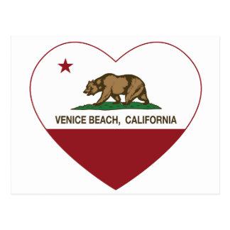 Carte Postale coeur de plage de Venise de drapeau de la