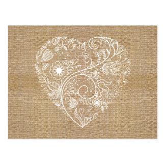 Carte Postale Coeur de toile de fleur de toile de jute