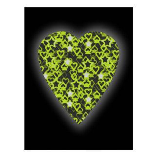 Carte Postale Coeur de vert de chaux. Conception modelée de
