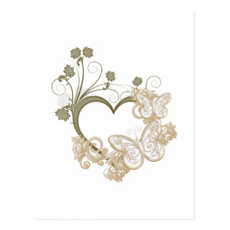 Carte Postale Coeur élégant de papillons et de fleurs