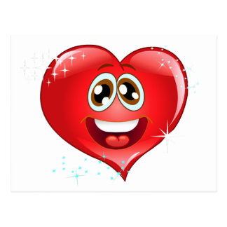 Carte Postale Coeur heureux Emoji d'amour